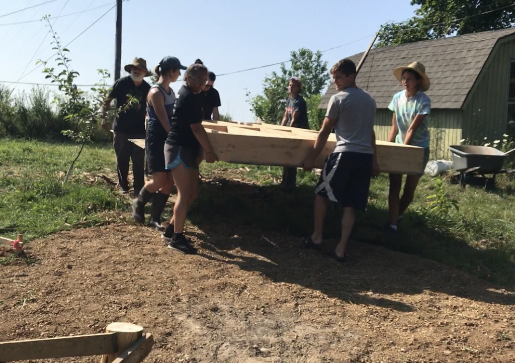 Students help build at the arb